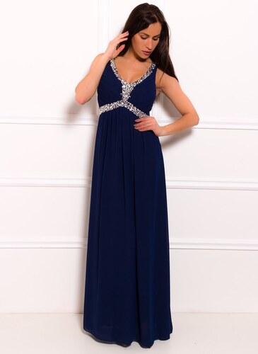 93748f787063 Due Linee Spoločenské dlhé šaty zdobené v dekolte - tmavo modrá ...