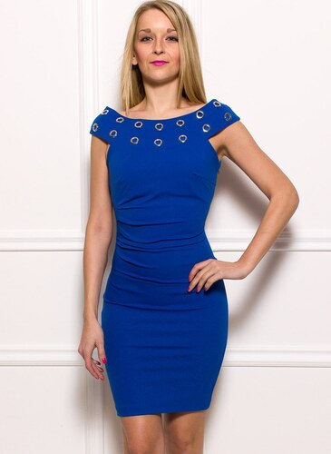 Rinascimento Dámske elegantné šaty s krúžkami - modrá - Glami.sk 22c6facf86e