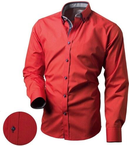 5acdd9a921b Victorio Červená pánská moderní košile V161 - Glami.cz