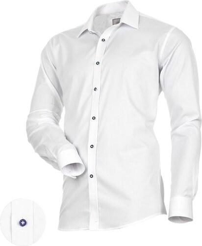 c19a6d4f96f Victorio Bílá pánská košile s modrými knoflíky - Glami.cz