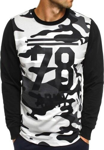 4e4bf1bde Čierno-biele tričko v army štýle s potlačou ATHLETIC 746 - Glami.sk