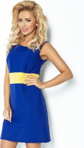 Numoco Modré dámské šaty bez rukávů se žlutým širokým páskem - Glami.cz c3a07d3659