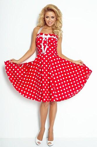 Numoco Dámské šaty se širokou sukní bez ramínek - červené s bílými puntíky eb4b39a6c9