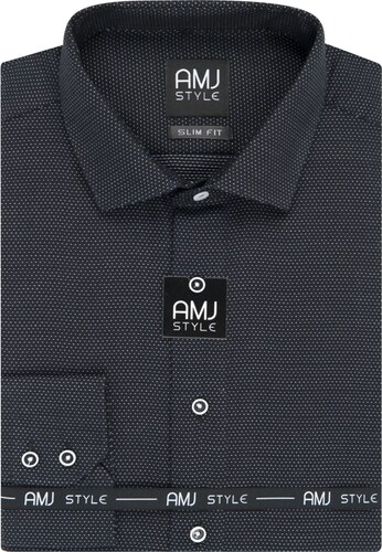 5cc86e463b AMJ pánská košile černá puntíkovaná VDPS947, dlouhý rukáv, prodloužená  délka, slim fit