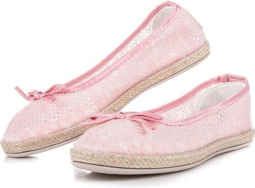 BALADA Krajkové baleríny růžové - Glami.cz 62ee69133f