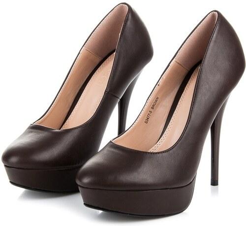 Ideal Shoes Klasické hnědé lodičky - Glami.cz fc8c1a3cd1