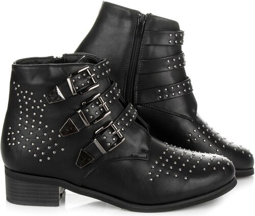 COCO PERLA Černé boty s přezkami - Glami.cz 327c2ad02dc