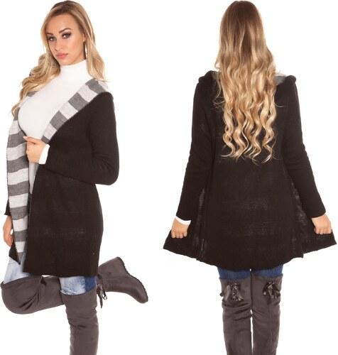 Dámský pletený dlouhý cardigan s kapucí Koucla černý - Glami.cz b6176046a0