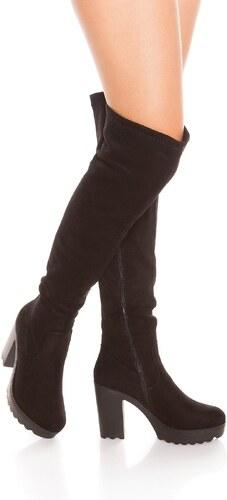 In-Style Čierne čižmy s hrubým podpätkom - Glami.sk 2e115f50818