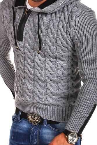 Pánský pletený svetr Tazzio Hoodie 15-453 - Glami.cz f9ddfb4b04