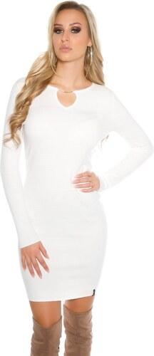 18c6f7d33554 Koucla Dámske biele úpletové šaty - Glami.sk