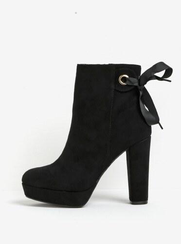 Černé kotníkové boty na podpatku a platformě v semišové úpravě Miss KG  Sheree 93108daccf