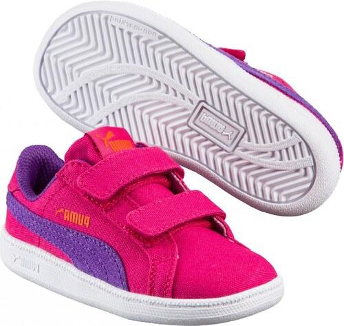 c90286b7655 Puma Dievčenské tenisky Smash FUN CV V - ružovo fialové - Glami.sk