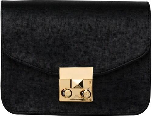 Malá kožená kabelka crossbody čierna strieborné kovanie Wojewodzic  31716 EA01 d8f87bf4790
