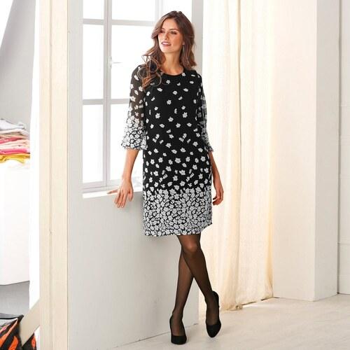 f038d7dfaa92 Blancheporte Rovné šaty s potlačou kvetín čierna biela - Glami.sk