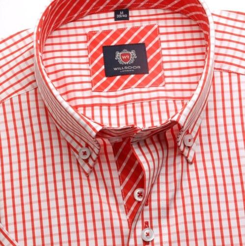 a1a8e841b88a -15% Willsoor Pánska košele WR London s krátkym rukávom v biele farbe s  červenou kockou (výška