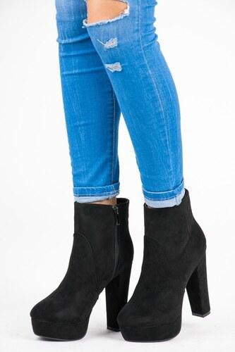 VICES new collection Klasické černé kotníkové boty na platformě a podpatku 89da8eac7d