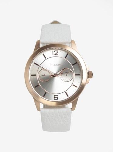Pozlacené hodinky v růžovozlaté barvě s bílým koženým páskem Pilgrim ... e44c4b92ee
