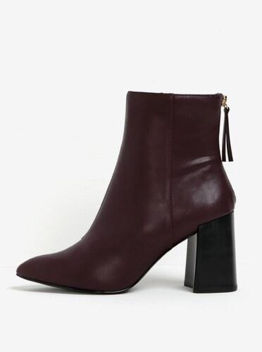 9ea7bf85d559 Vínové členkové topánky na širokom podpätku Miss KG Secret - Glami.sk