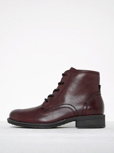 339df4a40418 Vínové kožené členkové topánky so zipsom Tamaris - Glami.sk