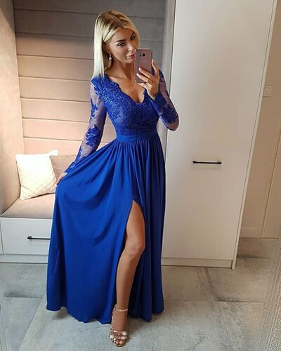 BELLA Elegantní šaty Leila modré 40 - Glami.cz 68bfa030995