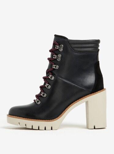 Čierne dámske kožené členkové topánky na vysokom podpätku Tommy Hilfiger  Paola 008be0e5611