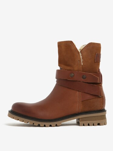 4a529d6fca7 Hnědé dámské kožené kotníkové boty s umělým kožíškem Tommy Hilfiger Corey