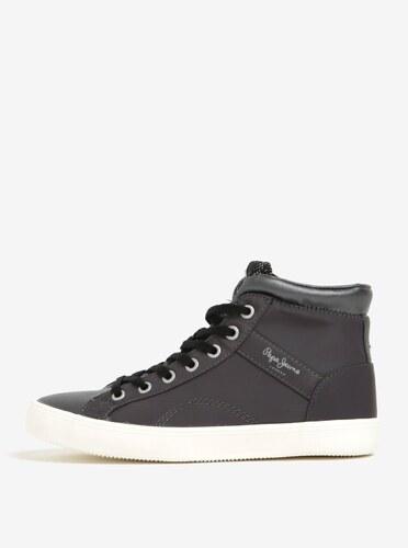 Černo-šedé dámské kotníkové tenisky s kožíškem Pepe Jeans Clinton Stars d51a44d3674