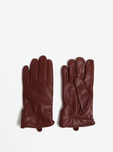 Hnědé pánské kožené rukavice se zipem a kašmírovou podšívkou Royal RepubliQ 7fb21faaeb