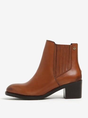 Hnědé dámské kožené chelsea boty na podpatku Tommy Hilfiger Parson ... 593f9bc064