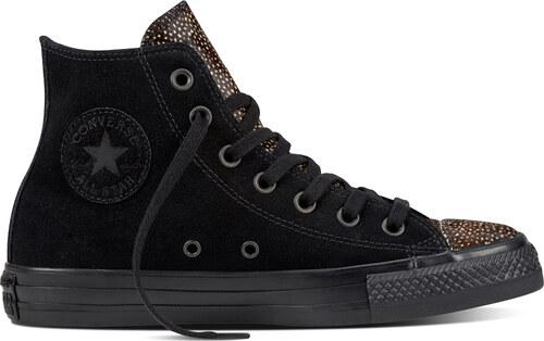 Converse černé kožené tenisky Chuck Taylor All Star Hi Black - Glami.cz 5549f9dbfa