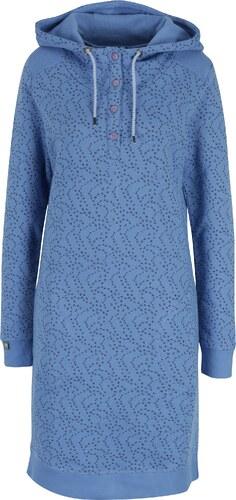 a6425b58239a Modré mikinové vzorované šaty s gombíkmi a kapucňou Tranquillo Naia ...