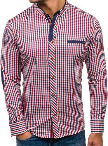 Červeno-tmavě modrá pánská kostkovaná košile s dlouhým rukávem Bolf 2146 2069361539
