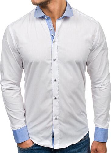 75b6294cb433 Biela pánska elegantná košeľa s dlhými rukávmi BOLF 6962 - Glami.sk