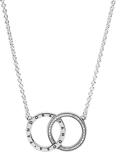 7f09a0dde34 Pandora Stříbrný náhrdelník s propojenými kruhy 396235CZ-45 - Glami.cz
