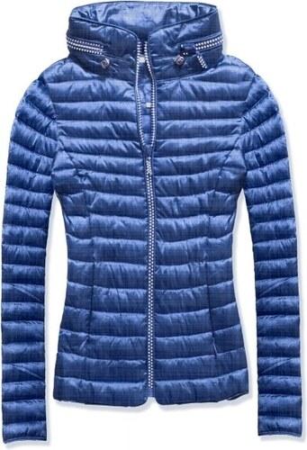 MODOVO Dámska prešívaná bunda s kapucňou 6551 modrá - Glami.sk 9b998413591
