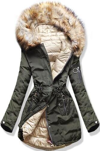 963a6c1f99 MODOVO Női téli kifordítható kabát kapucnival W-707 khaki-bézs ...