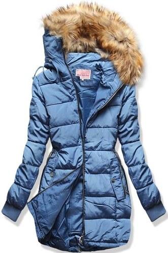 MODOVO Dámska zimná bunda s kapucňou W128 jeansová - Glami.sk 07d6867e6fc