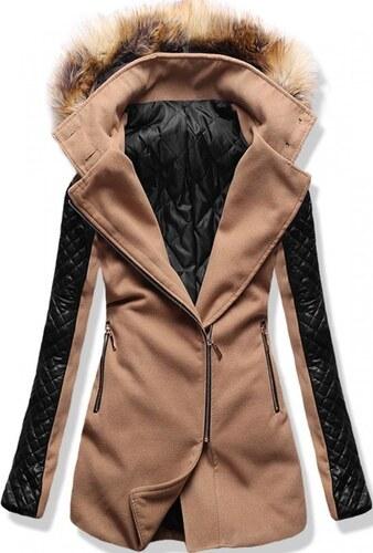 MODOVO Dlhý dámsky kabát s kapucňou 6710 hnedý - Glami.sk b2cbb4dbcd6
