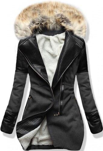 MODOVO Dlhý dámsky kabát s kožušinou 6775 grafitový - Glami.sk e586ae17c92