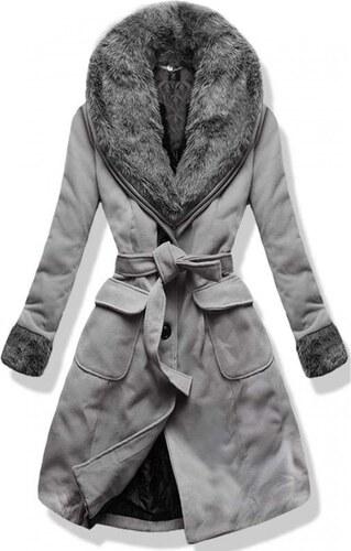 3cb6d65ad56 MODOVO Dlouhý dámský kabát s kožešinou 22153 šedý - Glami.cz