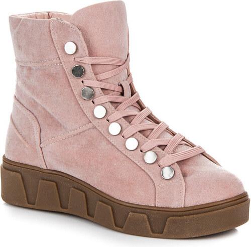 BETLER Semišové ružové členkové topánky na platforme so šnurovaním ... f7d5c25edc