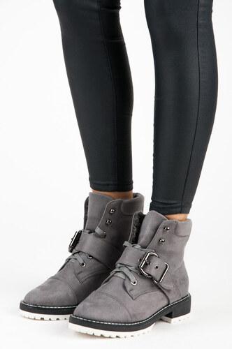 decf7ed2758ee VICES new collection Semišové šedé šnurovacie členkové topánky s prackou