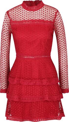 544fc7b4b088 Červené šaty s volánmi a dlhým rukávom AX Paris - Glami.sk