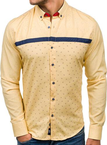 6bc2731b0a32 Žltá pánska vzorovaná košeľa s dlhými rukávmi BOLF 6903 - Glami.sk