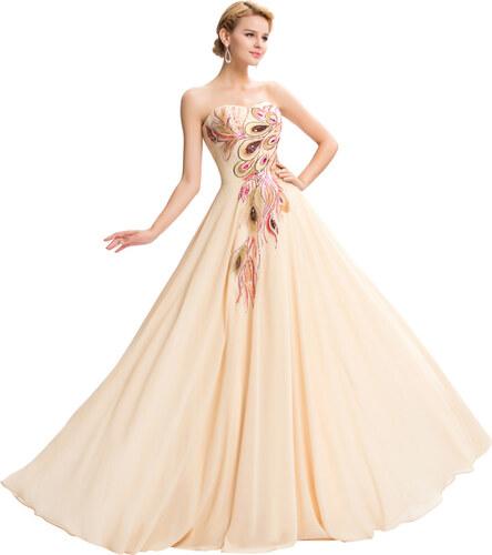 GRACE KARIN Dlouhé večerní šaty s vyšívaným pavím motivem - Glami.cz d61b708bd2