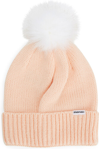 Světle růžová čepice Converse Fur Pom Knit - Glami.cz e5fc718da5