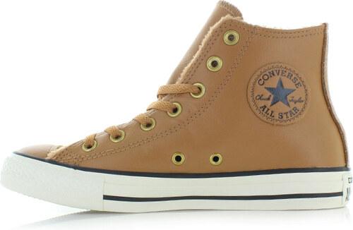 Converse Dámské skořicové vysoké tenisky Chuck Taylor All Star Leather and  Fur c8ceb1a3d2