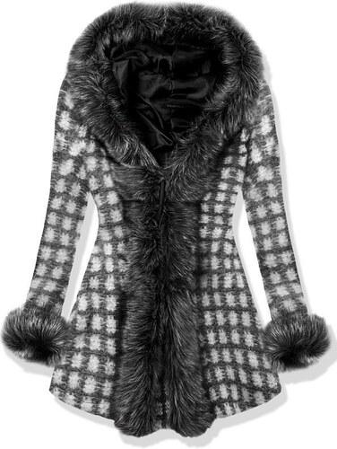 Butikovo Čierny vlnený oversized kabát s kožušinovým lemom - Glami.sk 6504e12c559