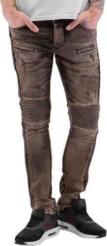 2Y PREMIUM 2Y kalhoty pánské Quilted Skinny Jeans Brown - Glami.cz bc4bfda853